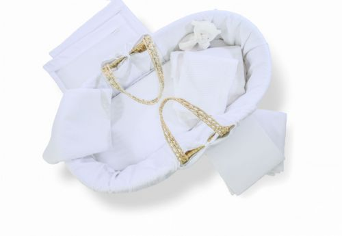Ten Piece Moses Basket and Cot Bedding Set - White Cotton Dream